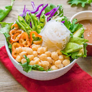 Kale Chickpea Buddha Bowls with Sesame Coconut Ginger Dressing.