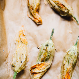 Vegan Baked Squash Blossoms with Miso Cashew Cheese