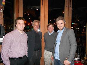 Photo: Tim Huss, '06, Abbot Michael, Tim Vail '68, Nick Evans, '01