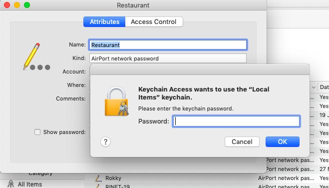 Enter the keychain password - Mac