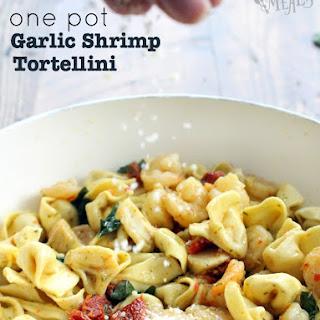 One Pot Garlic Shrimp Tortellini.