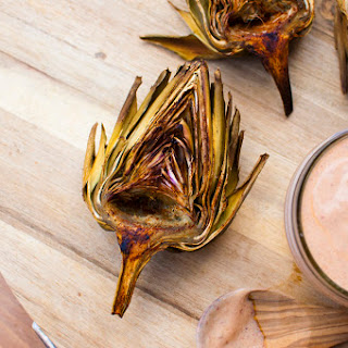 Chili Lime Roasted Artichokes with Vegan Chipotle Mayo.