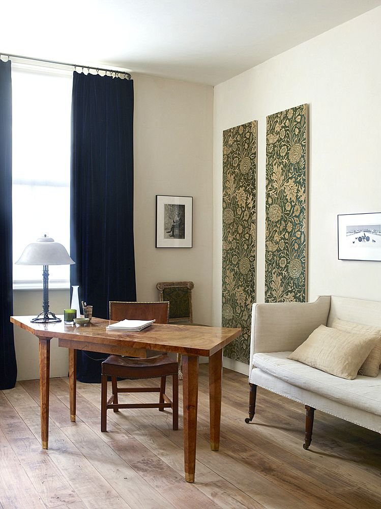 Desk in guest bedroom. Rose Uniacke's Classic Designed Minimal Home in London.