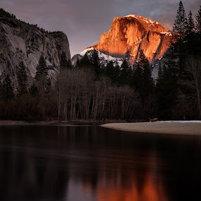 Half Dome Lights Up at Sunset by Sandra Woods - Landscapes Mountains & Hills ( reflection, mountain, half dome, yosemite, merced, national  park, river,  )