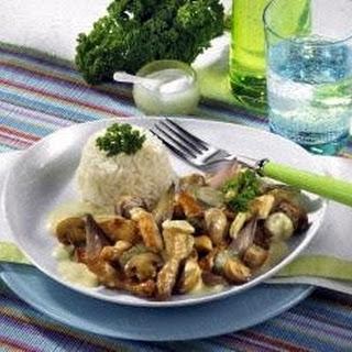 Putengeschnetzeltes à la Stroganoff mit Reis