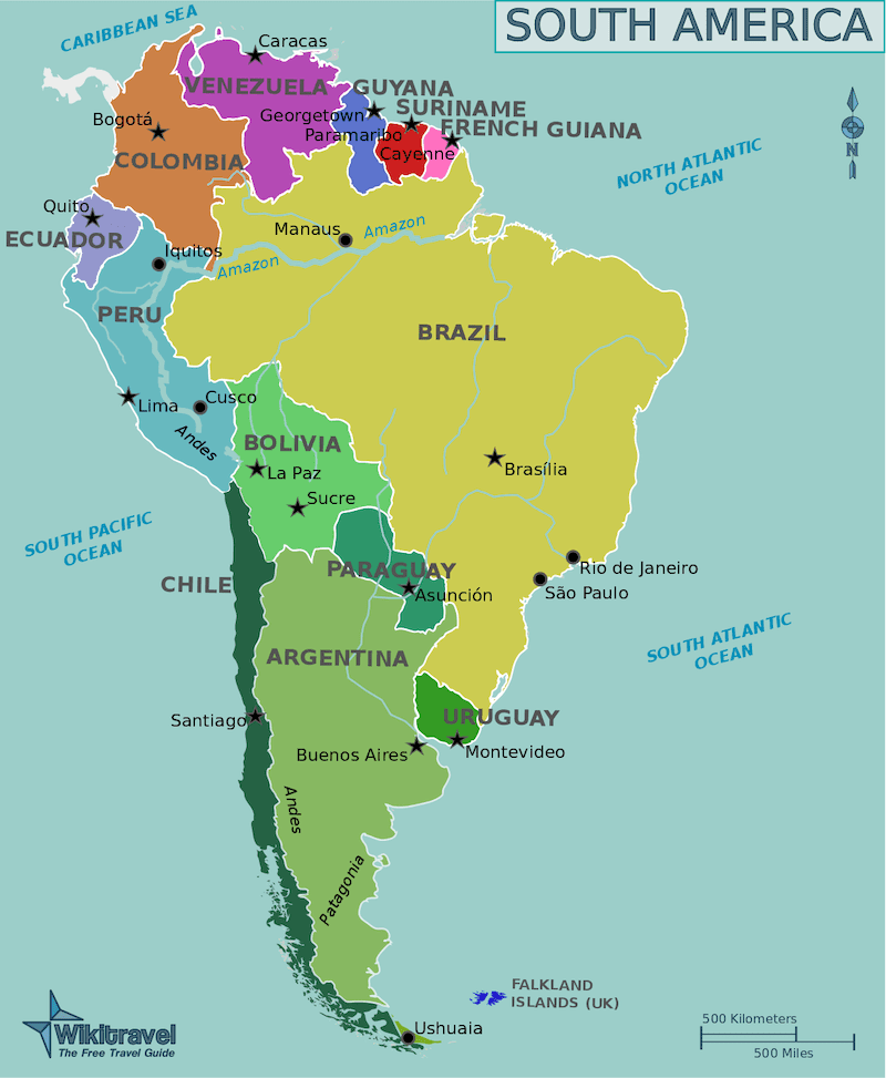 A map of South America with countries