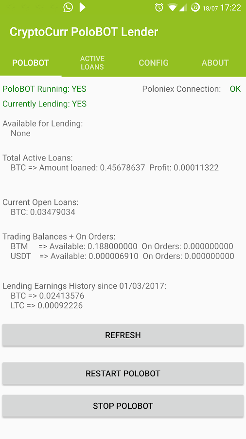 CryptoCurr PoloBOT Lender- screenshot