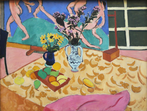 "matisse-fruit-flowers-and-the-dance.jpg -  Henri Matisse, ""Fruit, Flowers and the Dance,"" 1909, oil on canvas, one of several variations he created with his ""Dance"" in the background."