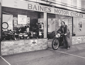 Photo: Granby Halls 1975.With Clive Alexander on the bike and Brian Rayne stood behind the counter in the shop