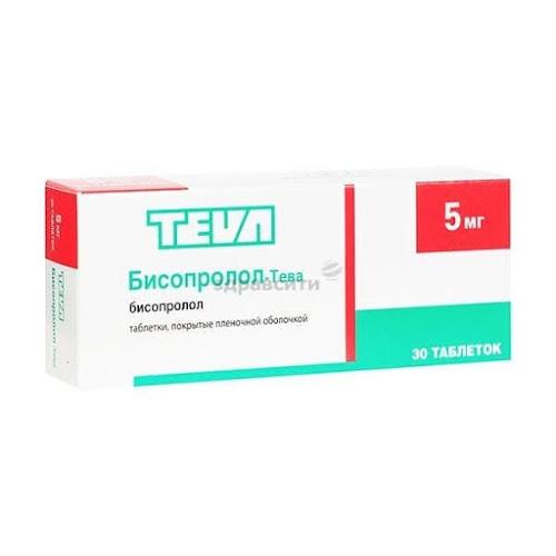 Бисопролол-Тева таблетки п.п.о. 5мг 30 шт.