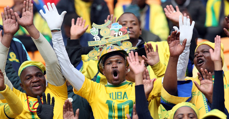 FC Barcelona fans during a match against Mamelodi Sundowns at FNB Stadium.