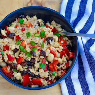 Red Capsicum and Sultana Brown Rice Salad.
