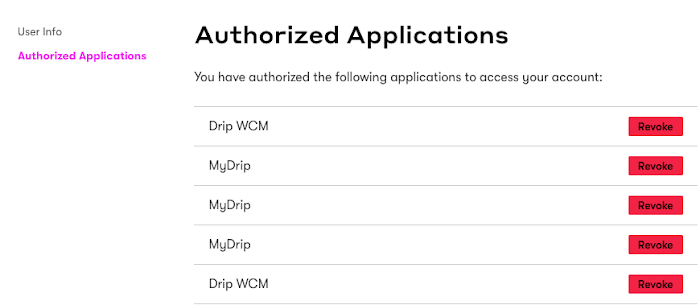 Authorized Applications Page