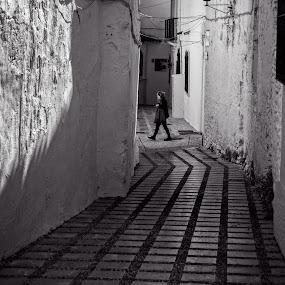 Side Street by Jebark Fineartphotography - City,  Street & Park  Street Scenes ( walking, monochrome, black and white, street, town, marbella, people, spain )