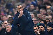 Maurizio Sarri of Chelsea looks on during the UEFA Europa League Round of 32 Second Leg match between Chelsea and Malmo FF at Stamford Bridge on February 21, 2019 in London, England.