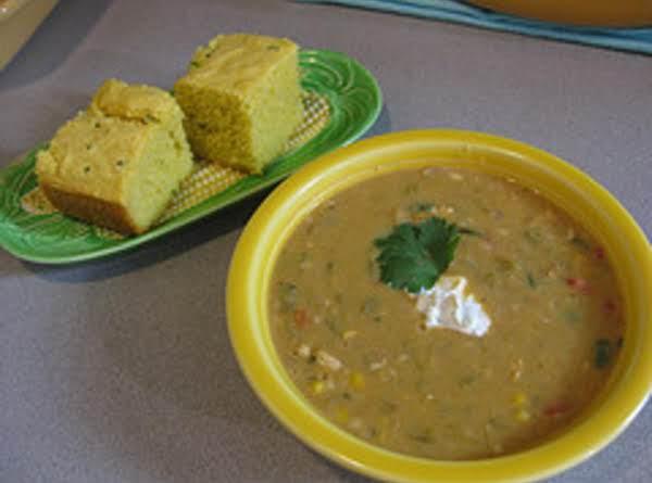 Yum!  White Bean Chicken Chili With Cilantro Cornbread And Green Chile Sour Cream!