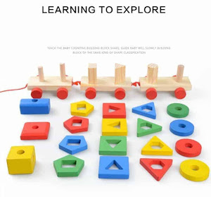 Trenulet lemn Montessori, 4 coloane sortat forme, culori