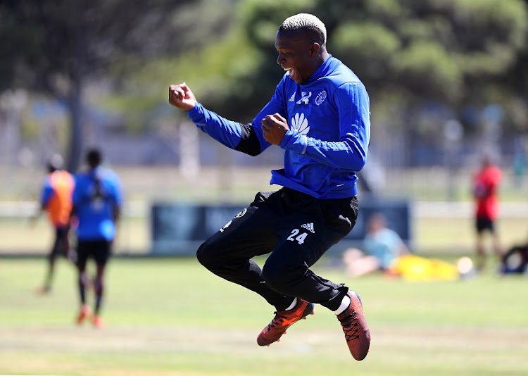 Tendai Ndoro of Ajax Cape Town celebrates goal during the Ajax Cape Town morning training session at Ikamva, Cape Town on 24 January 2018.