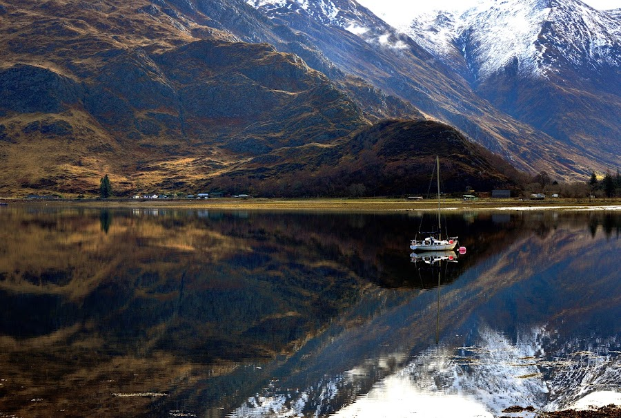Loch Duich by Sue Bernhard - Smith - Landscapes Waterscapes ( water, reflections, loch, boat,  )