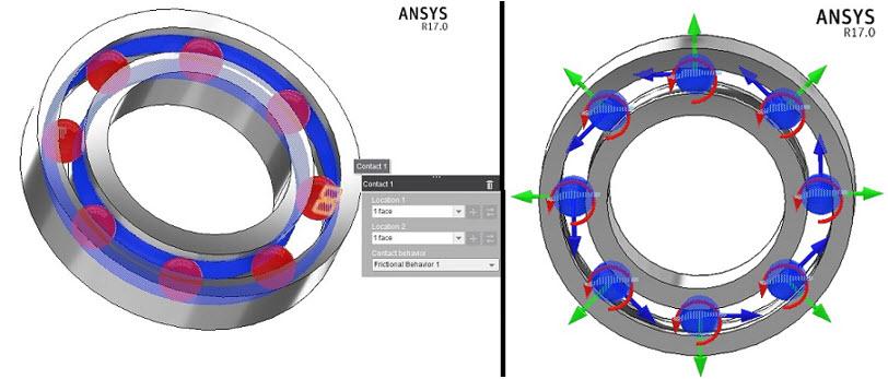 ANSYS - Показаны контакты шариков с внутренним и внешним кольцами подшипника. Также изображены степени свободы шариков, по которым смоделированы соединения (Joints)