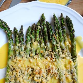 Grilled Garlic & Parmesan Asparagus with Hollandaise Sauce.