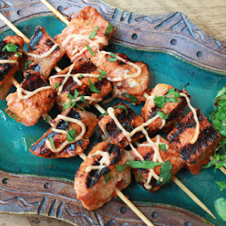 Red Curry Salmon Kebabs.