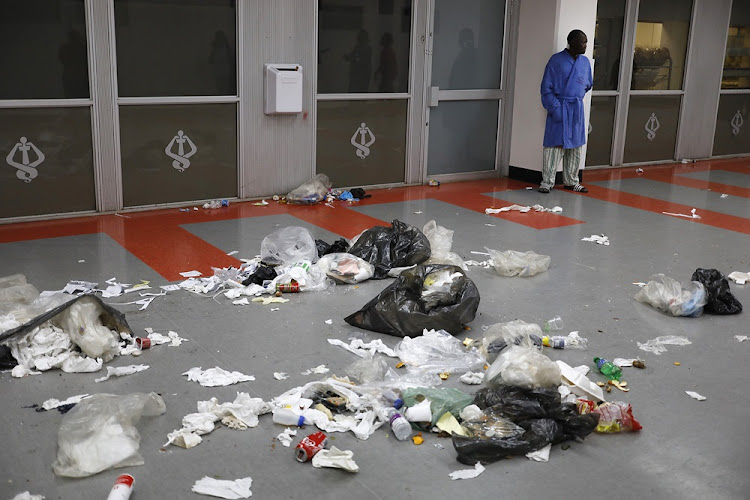 Litter strewn in the hallways of Charlotte Maxeke Academic hospital in Johannesburg on May 31 2018.