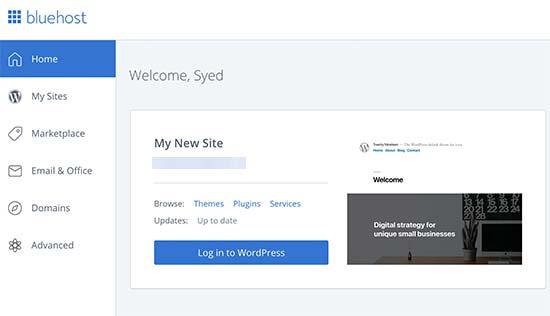 Đăng nhập wordpress dễ dàng cùng Bluehost