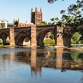 Hereford by Jim Keating - Buildings & Architecture Public & Historical ( reflections, old, bridge, river, hereford, cathedral,  )