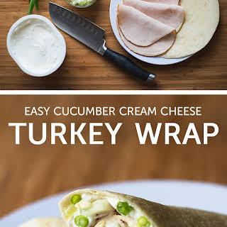 Cucumber Cream Cheese Turkey Wrap.