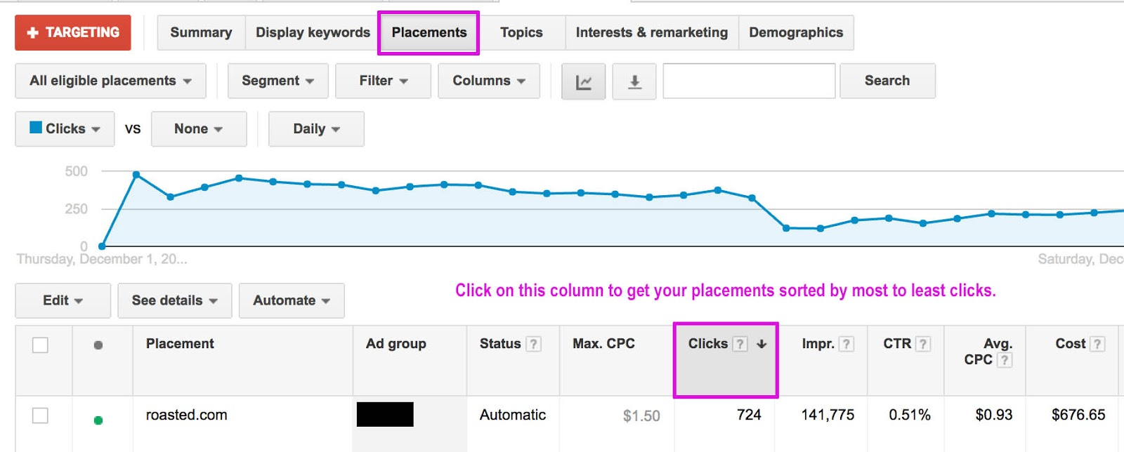 View clicks in the Placements Report