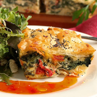 Flakey Spinach, Feta & Sun Dried Tomato, Filo Pie.