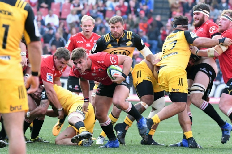Malcolm Marx, Ruan Dreyer of the Lions during the Super Rugby, Semi Final match between Emirates Lions and Hurricanes at Emirates Airline Park on July 29, 2017 in Johannesburg.