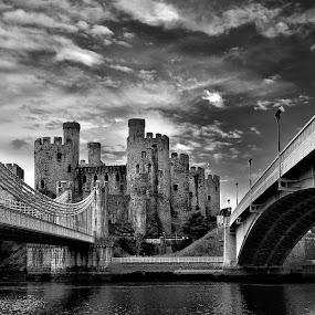 by Victor Harris - Buildings & Architecture Architectural Detail ( england, monochrome, b&w, hdr, wales, black & white, castle, conwy, architecture, bridge, pwcdetails-dq,  )