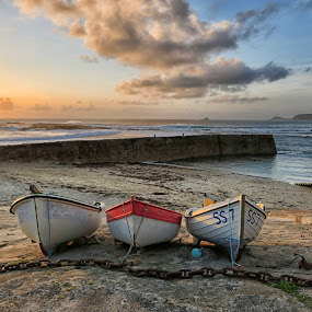 Three Boats  by Helen Quirke  - Transportation Boats ( cornwall, waterscape, beach, boats, three,  )