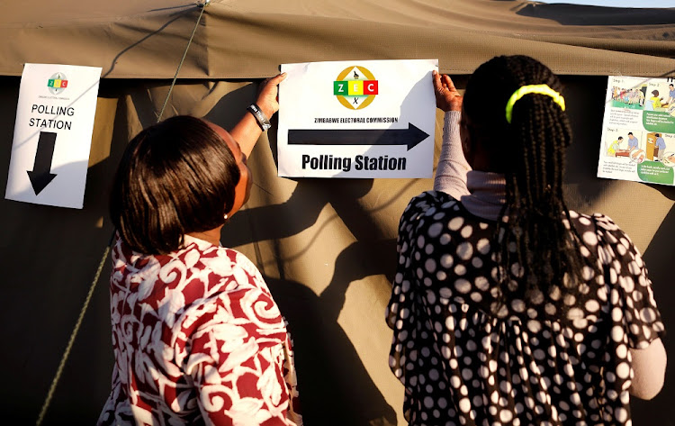 Officials prepare polling stations ahead of general elections in Harare, Zimbabwe, July 29 2018. Picture: REUTERS