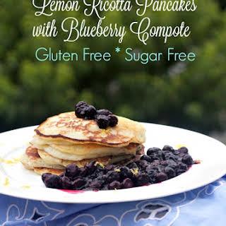 Gluten Free Lemon Ricotta Pancakes Blueberry Compote.