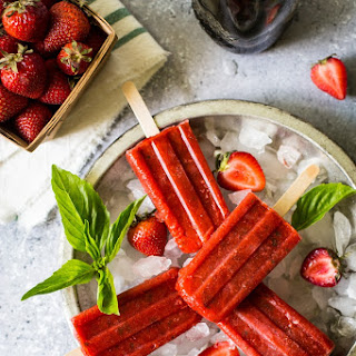 Balsamic Strawberry with Basil Popsicles Recipe