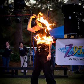 Embrace the Fire by William Brunson Jr. - Abstract Fire & Fireworks ( orange, fire performance, fire art, art, men, fire spinner, black, fire, fire whip )