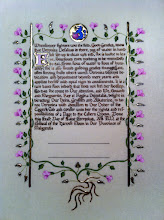 """Photo: The finished Tyger's Cub scroll for my niece, Veronica Vesalius. The illuminated area is less than 5"""" by 7""""."""