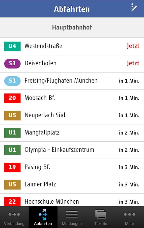 MVG Fahrinfo München - screenshot