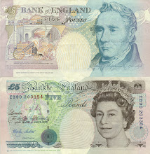 Photo: George Stephenson, 5 British Pounds (1990) . This note is out of print, and has been taken out of circulation.
