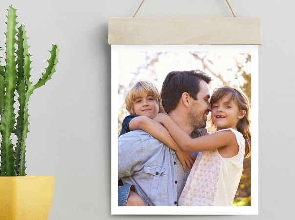 family photo hung on wall