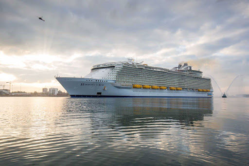 harmony-of-seas-in-southampton2.jpg - Harmony of the Seas carries 5,479 passengers (double occupancy) on voyages in the Mediterranean in summer and the Caribbean in winter.
