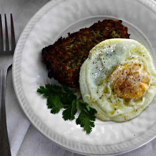 Zucchini Fritters with Fried Egg.