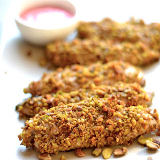 Pistachio Crusted Chicken with Raspberry Mustard Sauce.