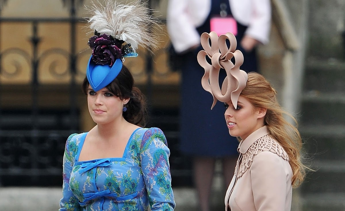 Princesses Eugenie (left) and Beatrice attend the wedding of Prince William  and Kate Middleton 913cd21a585