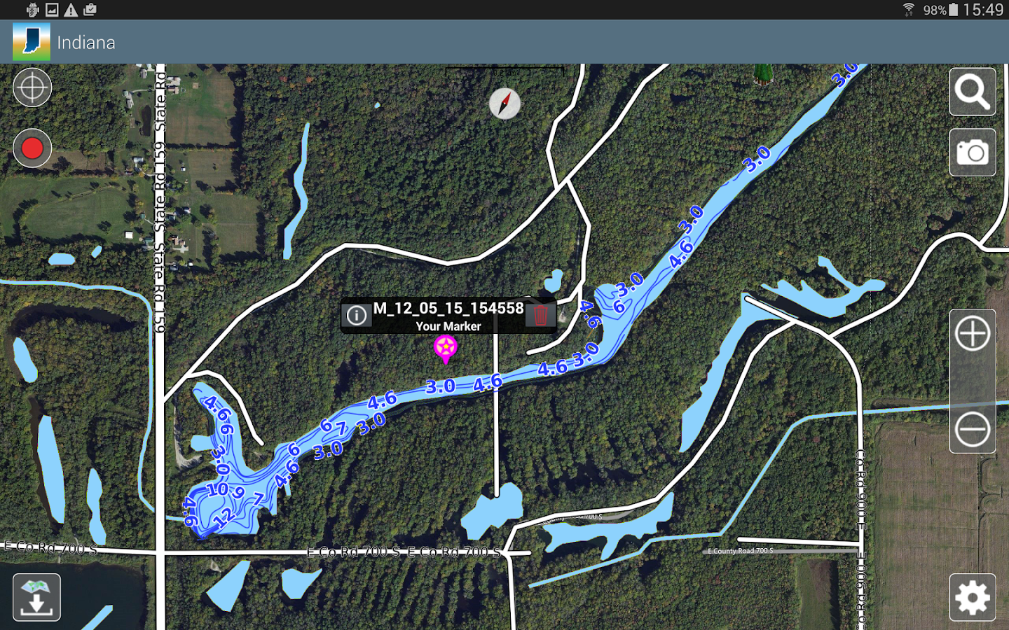 Aqua Map Indiana Lakes GPS- screenshot