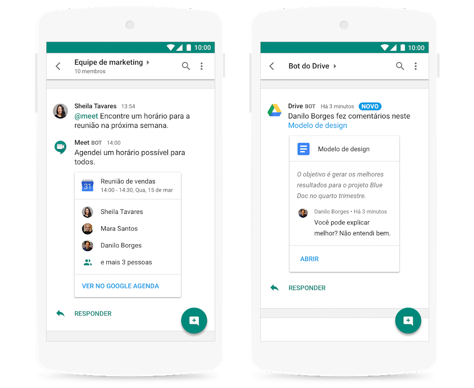 Agenda e Drive no Google Workspace