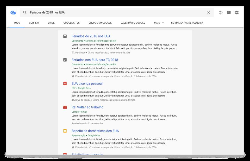 Vista de navegador do Cloud Search